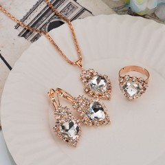 JUMEI 3 Pair Fashion Heart Diamond Necklace Earring Ring Kit Shine Crystal Jewellery For Girl gold s