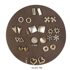 JUMEI 12 Pair/Set New Gold Geometry Women Earring Kit Snowflake Heart  Fashion Jewellery For Girl gold s