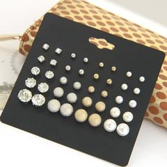 JUMEI 20 Pair/Set Mix-size Pearl Earrings Shine Diamond Ear Studs Fashion Jewellery For Women Mix-color s