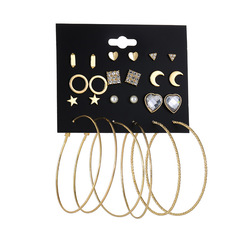 JUMEI 12 Pair/Set New Exquisite Earring Kits Moon Stars Heart Ear Nail Fashion Jewellery For Women gold s