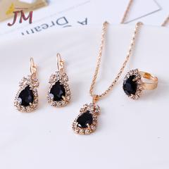 JUMEI 3 Pair/Set Fashion Diamond Necklace Earring Ring Rhinestone Luxurious Jewellery Kit For Women black s