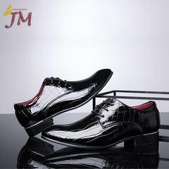 JUMEI 2019 New Fashion Men's Leather Shoes Causal Business Shoes Young Men Black 37