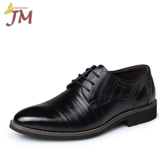 JUMEI 2018 Hot Selling Cusp Men's Cow Leather Shoes Business Causal Fashion Young Men black 37