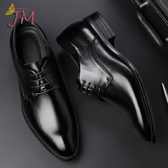 JUMEI Hot Selling Casual Men's Leather Shoes Quality Business Fashion Shoe For Young Men black 38