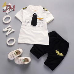 JUMEI New Casual Short Sleeve Children Suit Cartoon Baby Clothing Kids T- shirt Trousers 2 Pack white 80cm 95% cotton