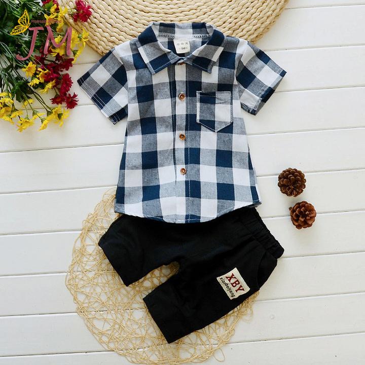 JUMEI HOT Short Sleeve Children Garments Cute Comfortable Clothing Suit T-shirt Trousers 2 Pack blue 90cm 95% cotton
