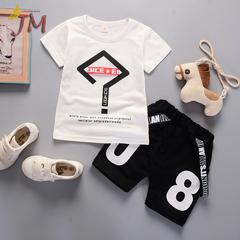 JUMEI 2 Pieces Fashion Baby Clothing Short T-shirt Trousers Kids Suit Comfortable Children Garments white 80cm 95% cotton