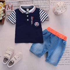 JUMEI 2 Pieces New Fashion Baby Clothing Suit 95% Cotton Short T-shirt Trousers Children Garments blue 70cm 95% cotton