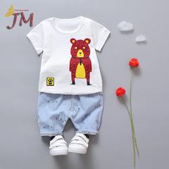 JUMEI 2 Pieces Cute Cartoon Baby Clothing Suit Short T-shirt Trousers Kids Wear Children Garments blue 70cm 95% cotton