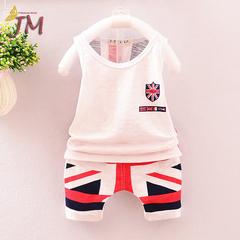 JUMEI 2 Pieces Fashion Kids Clothing Suit Comfortable Vest Trousers Baby Wear Kit Children Garments white 70cm 95% cotton