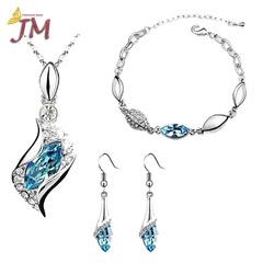 JUMEI 3 Pieces Diamond Necklace Earrings Bracelet Kits Water Drop Fashion Jewelry For Women green s