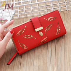 JUMEI New Style Quality Leather Women Wallets Hollowed Leaf Ladies Handbags Fashion Girl Accessories red s
