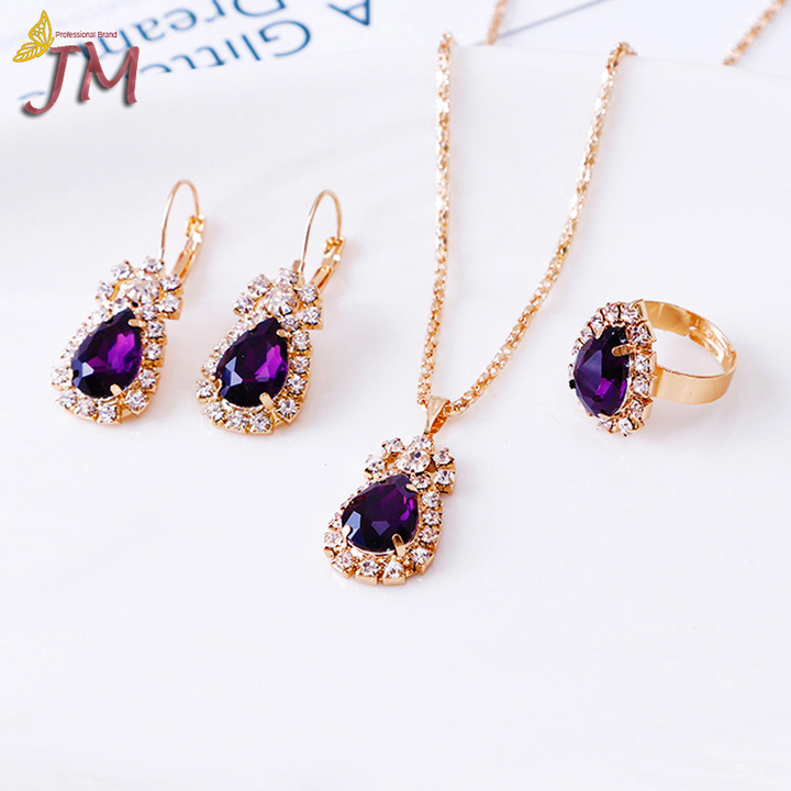 JUMEI 3 Pcs Hot Selling Women Necklace Earrings Rings Suit Diamond Luxurious Jewellery Accessroies Puzzle s