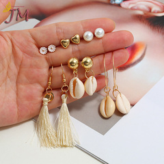 JUMEI 6 Pairs/Set Ocean Women Earrings Shell Tassles Ear Studs Girl Fashion Jewellery Gold S