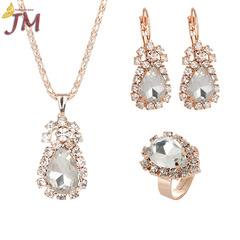 JUMEI Hot Selling Women Necklace Earrings Rings Suit Diamond Gemstone Girl Fashion Jewellery Set silvery s