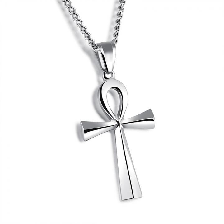 Cross pendant necklace steel normal