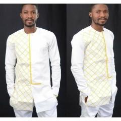 Fashion Shirts For Men Style Printed Neck Long Sleeved Long Shirt Cardigan Men white S