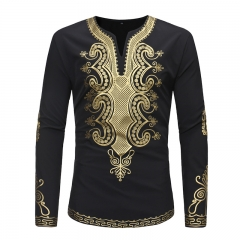 Fashion shirt For Men Embroidery Printed Long Sleeve T-Shirt black S