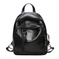 Women Backpack fashion wild leisure travel backpack PU leather chest bag black one size