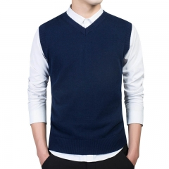 Clothing Sweater Men Tops  V Neck Slim Vest Sweaters Sleeveless Men's Warm Sweater Cotton Casual blue M