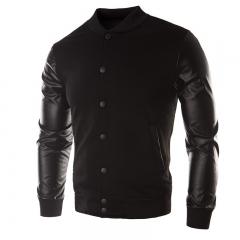 Male Leather Patchwork Hoodies Button Basic Jacket Autumn Men'S  Jackets Coats Outerwear Fashion black XXL