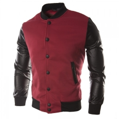 Male Leather Patchwork Hoodies Button Basic Jacket Autumn Men'S  Jackets Coats Outerwear Fashion red L