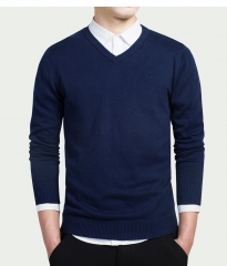 Cotton Sweater Men Long Sleeve Pullovers Outwear Man V-Neck sweaters Tops Knitting Clothing 8 Colors blue M