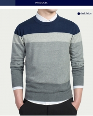 Cotton Sweater Men Long Sleeve Pullovers Outwear Men's Tops Loose Striped Fit Knitting Clothing dark blue M
