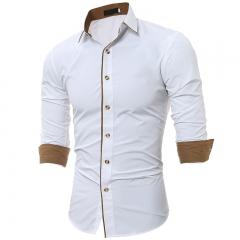 Fashion Men Wear Shirt Slim Fit Men Long Sleeve Shirt Male Classic  Casual lapel Shirts white M