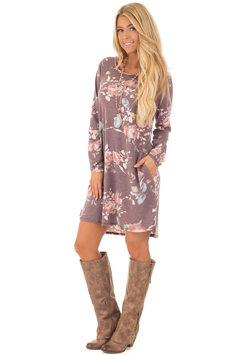 Women Floral Printed Dress Ladies Long Sleeve Mini Dresses Cotton ... 87d8f43d54d5