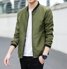 Mens wear Casual Solid Jacket Fashion Slim Bomber Tops Male Baseball windbreaker Coat Plus Size green 5XL