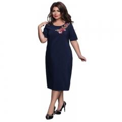 Women Plus Size Clothes Ladies Elegant Office Evening Party  Dresses  Female  Embroideried Dress L navy blue