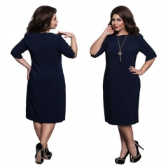 Women Large Size Clothes 2018 Sexy Dresses Ladies Big Size Basic Straight Dress  Gift For Female L navy blue