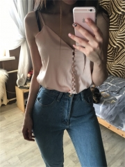 Women Wear Top  Silk Deep V Neck Camis Tank Tops Ladies Clothes Sleeveless Female Casual Vest pink S