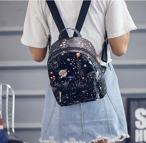 Women Luxury Printing Backpack Small High Quality Pu Leather School Bags For Teenagers Ladies bag black one size