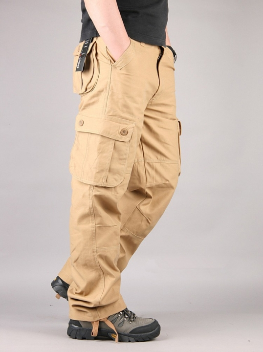 Pants Men's Cargo Pants Casual Multi Pocket Military Overall Men Outdoors High Quality Long Trousers khaki 30