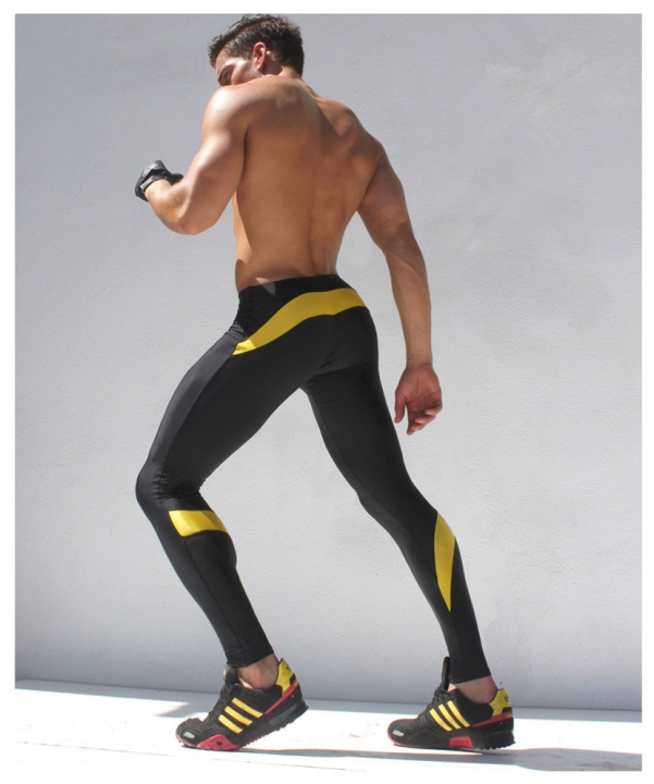 26a7890ea0 Mens Joggers Tight Pants Compression Pants Ankle Length Pants Male Trousers  Casual Sweatpants Skinny yellow L