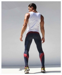 Mens Joggers Tight Pants Compression Pants Ankle Length Pants Male Trousers Casual Sweatpants Skinny red M