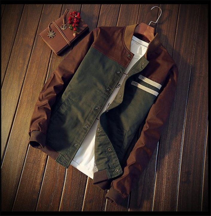 men's jacket new Cultivate one's  paragraph color matching collar Tops male baseball uniform as picture M