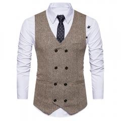 Fashion Men Formal Tweed Check Double Breasted Man Vest Waistcoat Retro Slim Fit Suit Vest khaki S