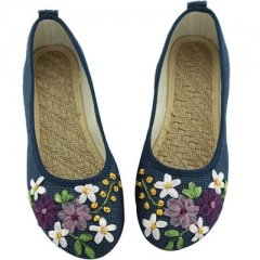 Women Flats Flower Slip On Cotton Fabric Linen Comfortable Lasies Old Peking Ballerina Flat Shoes blue 34
