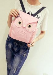 Fashion Women Backpack Newest Stylish Cool PU Leather Owl Backpack Female  shoulder bag school bags pink one size