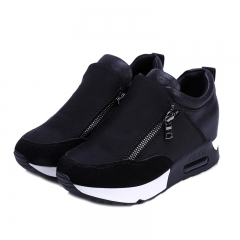 Women Wedge Casual Shoes Zipper Height Increasing Breathable  Ladies Walking Flats Trainers Shoes black 35