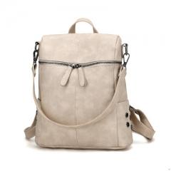 Fshion Backpack Women PU Leather Backpacks For Teenage Girls School Bags  Solid Shoulder Bag Khaki one size