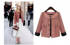 Women Short Jacket Fashion Autumn Slim vintage Chamois Leather Suede jacket For Ladies as picture XL