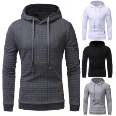 Hoodies Men  Long Sleeve Solid Color Hooded Sweatshirt Mens Hoodie Tracksuit Coat Casual Sportswear dark grey S 45kg-50kg