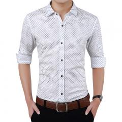 Fashion Men Clothes Slim Fit Men Long Sleeve Shirt Men Polka Dot Casual Men Shirt Social Plus Size white M