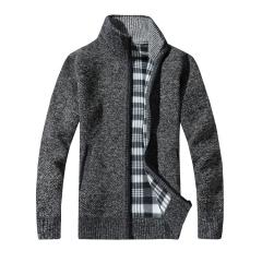 Men's Thick Sweaters Warm Winter Male Cardigan Sweaters coat Casual Knitwear Fleece Velvet Clothing dark gray L 54kg-60kg