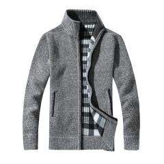 Men's Thick Sweaters Warm Winter Male Cardigan Sweaters coat Casual Knitwear Fleece Velvet Clothing light gray XXL 68kg-74kg