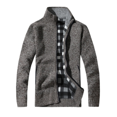 Men's Thick Sweaters Warm Winter Male Cardigan Sweaters coat Casual Knitwear Fleece Velvet Clothing coffee L 54kg-60kg